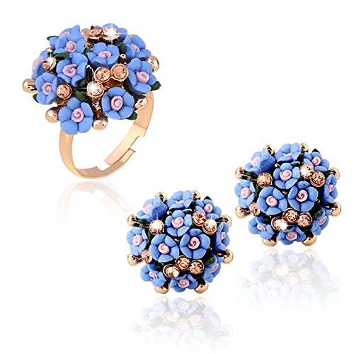 Cosanter 1 Unidades Ajustable Flores de Cer/ámica Femenina Flor Exquisita Lindo Exagerado Anillo de Diamantes Mujeres Chica