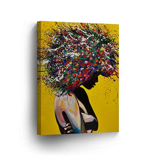 African American Wall Art Afro Hair Woman Splash Style Canvas Print Yellow Decor Oil PaintHome Décor Wall Decoration Artwork Stretched Framed Ready to to Hang -%100 Handmade in The USA - 12x8 by Smile Art Design