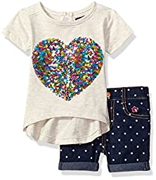 Limited Too Baby Girls\' 2 Piece Bermuda Short and Embellished T-Shirt Set, Oatmeal Heather, 24M
