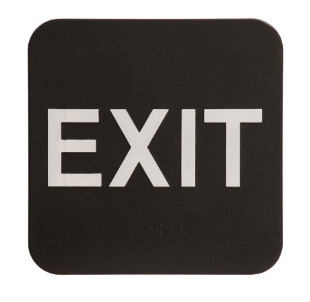 Black /& White Includes Adhesive Tape and Instructions London Health Products EXIT Sign ADA