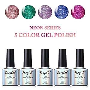 Nail Polish UV LED Neon Bling Gel Nail Art Starter Kit Soak Off 5PCS FairyGlo 10ml 004
