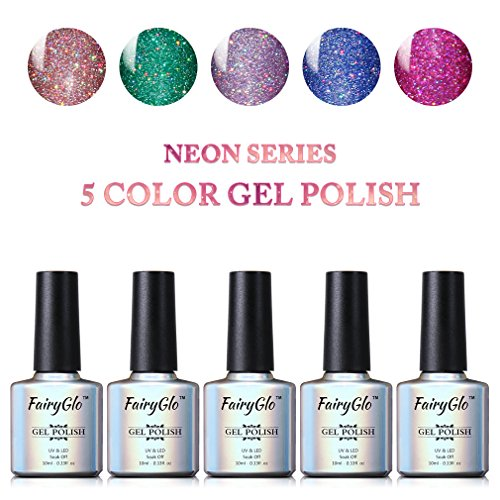 Nail Polish UV LED Neon Bling Gel Nail Art Starter Kit Soak