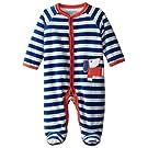Offspring - Baby Apparel Baby-Boys Newborn Dog Velour Footie, Blue Stripe, 3 Months
