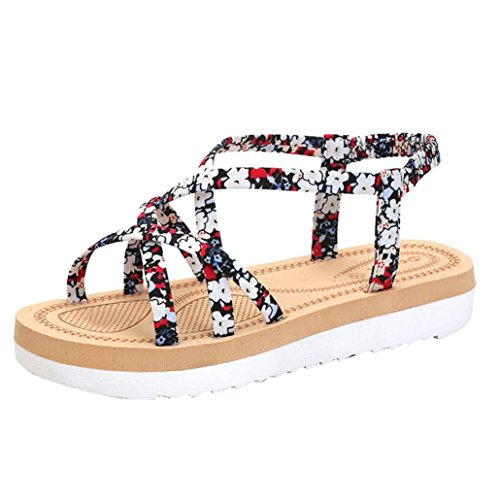 Women TM Flat Bands Summer Red Elevin Fashion Sandals Shoes String Bohemia Flop PeepToe Flip d5ZqHxw
