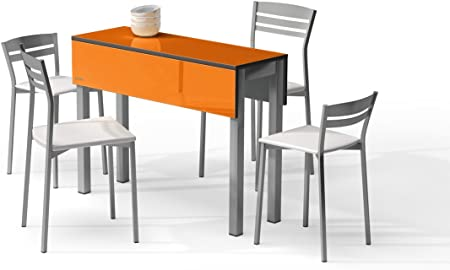MASQUEMESAS MESA EXTENSIBLE PICCOLA - Encimera Cristal Color Naranja Brillo/ Patas Aluminio, 100X35 cms: Amazon.es: Hogar