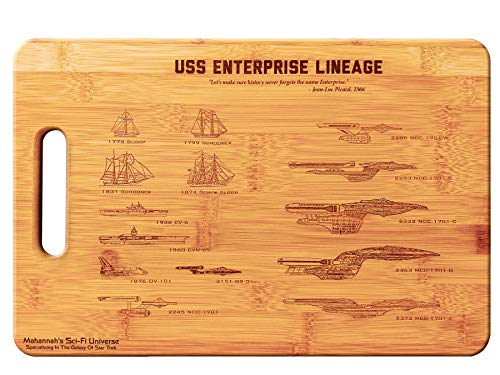Star Trek USS Enterprise Legacy- Large Bamboo Cutting Board, Wooden Cutting Boards for Kitchen, Wood Cutting Board, Butcher Block, Chopping Board, Wood Chopping Board