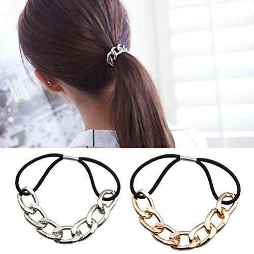 Cuhair(tm) 2pcs Punk hair bands Gold Silver Plated Woman Elastic Hair Band Rope rubber Ties Metal Ponytail Holder Girls Hair - Usd Number Tracking
