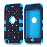 Vogue shop Hybrid 3-Piece Silicone Hard Back Cover Case with Rhinestone Diamond Design for Apple iPod Touch 5 - Black / Blue