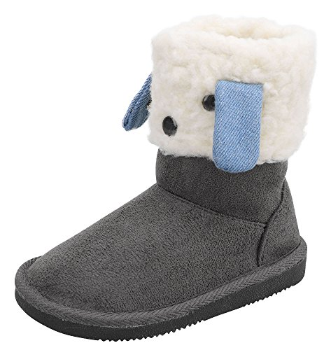 Girls Faux Suede Boots (Arctic Paw Furry Friends Sherpa Lined Faux Suede Winter Little Kids Boots 12)