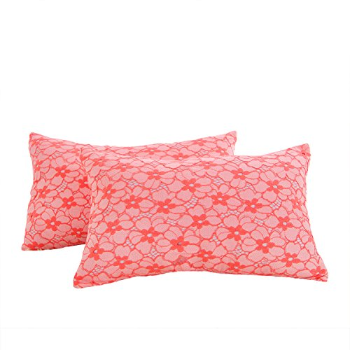 Sunshine Fashion Inc Cushion Covers Throw Pillow Cases Shells Modern Lace Floral Decorative Cushion Cover ,Peach Coral,Pack of 2 - 12' Accent Pillow