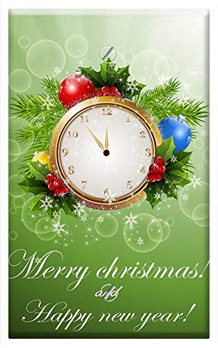 Single-Gang Blank Wall Plate Cover - New Year Christmas Card Background Greeting ()