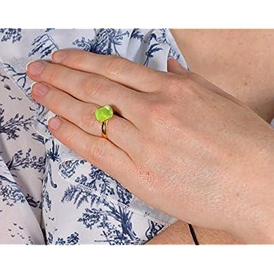 Anillo cristal verde lima - Beforya Paris