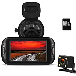 Sale Off Bluepupile Dash Cam 1080P FHD Dashboard Camera Recorder 170° Lens 3' LCD Screen with GPS Night Vision G-Sensor
