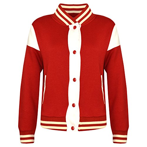 Kids Girls Boys Baseball Jacket Varsity Style Plain School Jackets Top 5-13 Year