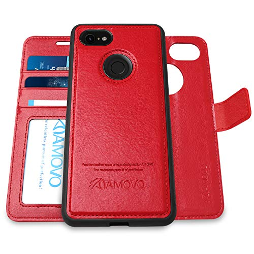 [Upgraded Version] AMOVO Pixel 3 XL Wallet Case [2 in 1] [Wireless Charger] Google Pixel 3 XL Case Wallet Detachable [Vegan Leather] Pixel 3 XL Flip Case with Gift Box Package (Pixel 3XL, Red)