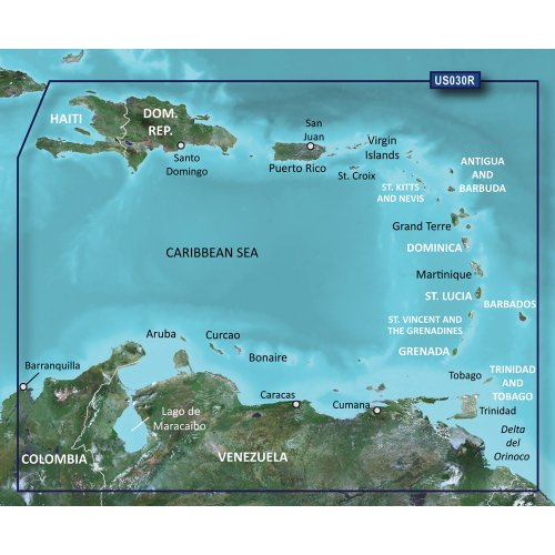 New-GARMIN VUS030R SOUTHEAST CARIBBEAN BLUECHART G2 VISION - 30379