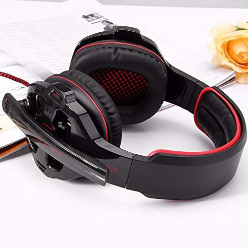 SADES SA903 Gaming Headset 7.1 Channel Gaming Headphone Surround Stereo USB Noise Canceling Headphone with Microphone for PC/Mac(Black&Red)