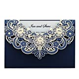 Doris Home Navy Blue Laser Cut Flora Lace Invitation Cards with Blank Inner Sheets and Envelopes for Wedding invitations, Bridal Shower, Engagement, Birthday, Baby Shower (50) (Blue 50pcs)