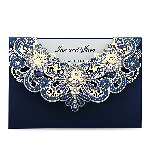 Doris Home 50pcs Navy Blue Laser Cut Flora Lace Invitation Cards with Blank Inner Sheets and Envelopes for Wedding Invitations, Bridal Shower, Engagement, Birthday, Baby Shower (50) (Blue) (Beauty And The Beast Bridal Shower Invitations)