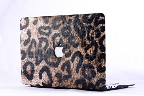 """HQF® [Leather Laptop Cover] - 13-inch Leather Shell Protective Case Cover for MacBook Pro 13.3"""" with Retina Display A1502/A1425 [No CD-ROM](Leopard)"""