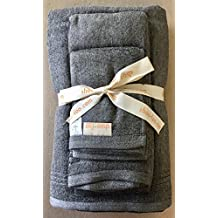 Organic Bamboo Charcoal Bath Towels Set by SHOO-FOO | 100% Bamboo + Bamboo Charcoal |3-pcs set: Bath, Hand, Face | 600 GSM (Charcoal Grey)