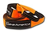 """Search : GearAmerica Premium Tow Strap 3"""" x 20'   30,000 LBS (15 US Tons) Capacity   Heavy Duty Towing and Recovery   Reinforced Eyes and Protective Sleeves   Storage Bag + Velcro Strap   CE, GS, TUV Certified"""