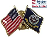US Navy Crossed with American Flag Lapel Pin, double waving, Made in USA