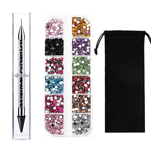 Amaoz Nail Rhinestones Set, Include Nail Gems Pickup tool,Dual-ended Picker Dotting Pen Crystal Studs Wax Pen, Multicolored Flatback Gems Rhinestones for Craft Nails Decoration Eye Makeup Clothes Shoe