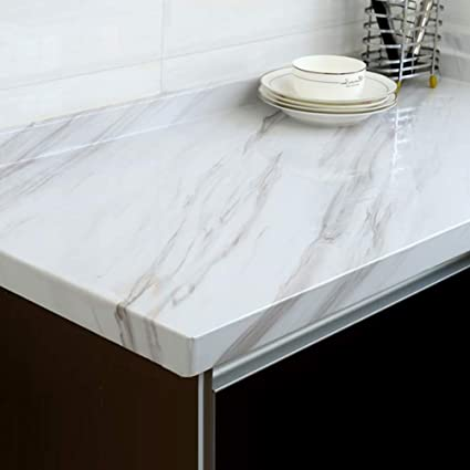 Yenhome Large Size Jazz White Marble Contact Paper For Countertops