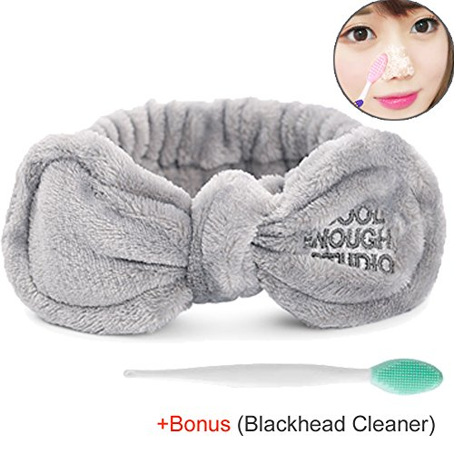 Price comparison product image M_FIT Bowtie Ear Plush Headbands, Adjustable Bunny Ears Tie, Extrame SoftComfort to Makeup Wash Spa Shower Facial Wash Hair Band for Girls and Women (Grey-bunny)
