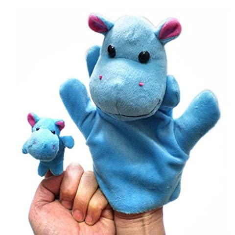 2Pcs (1 Big+1 Small) Lovely Kids Baby Plush Toys Finger Puppet Talking Props Animals Hand Puppets^hippo.
