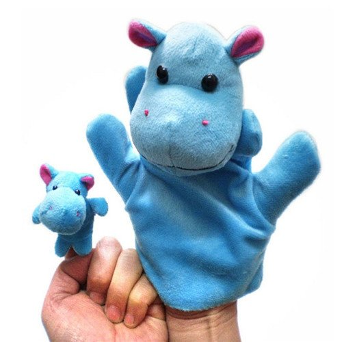 2Pcs (1 Big+1 Small) Lovely Kids Baby Plush Toys Finger Puppet Talking Props Animals Hand (Baby Godzilla Costume)