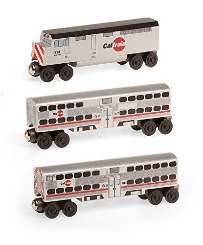 Cal Train F-40 Engine 3pc.Set - Wooden Toy Train by Whittle Shortline Railroad (F Train)