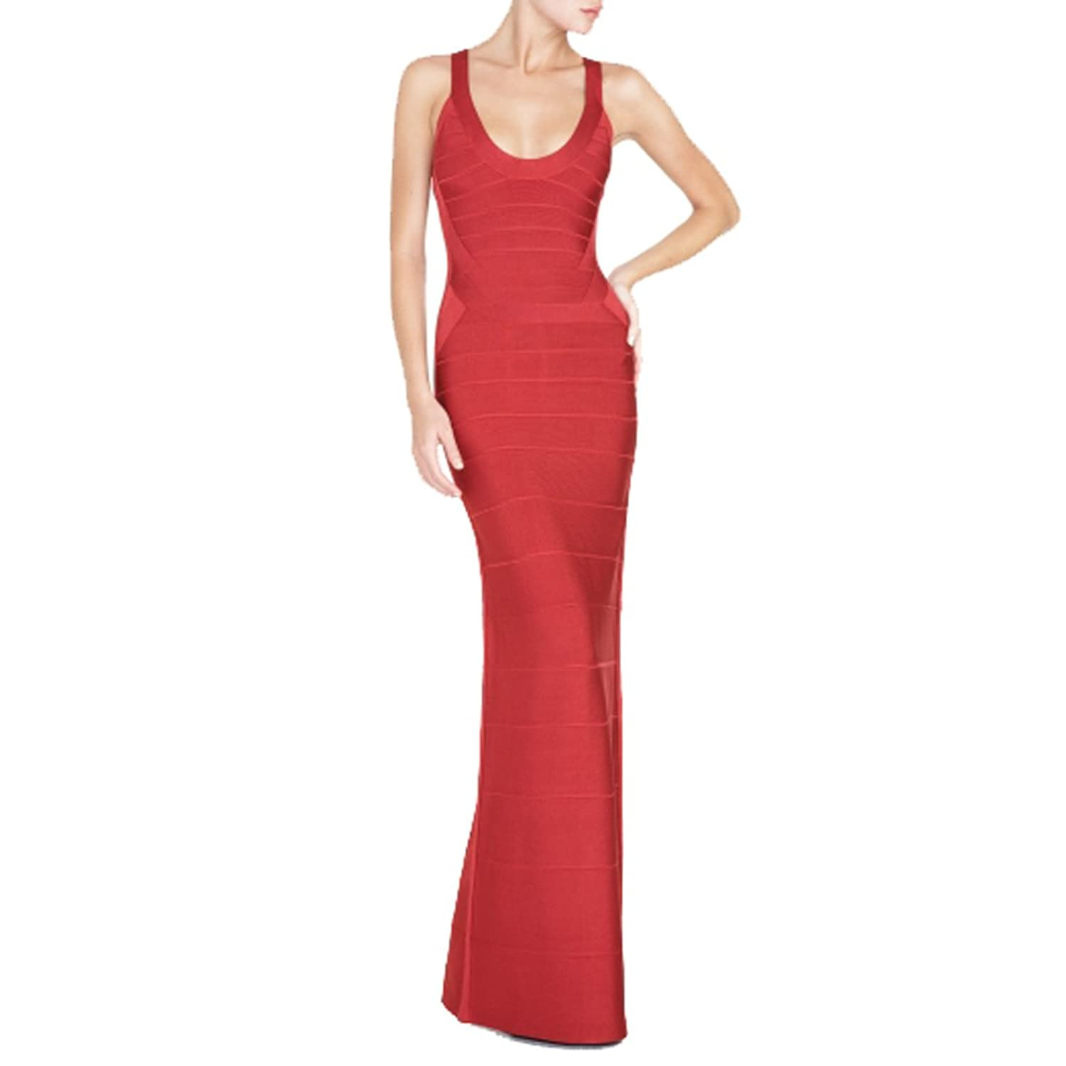 Hlbcbg Long Women's Bandage Bodycon Dress Party Cocktail Dress Red 2140