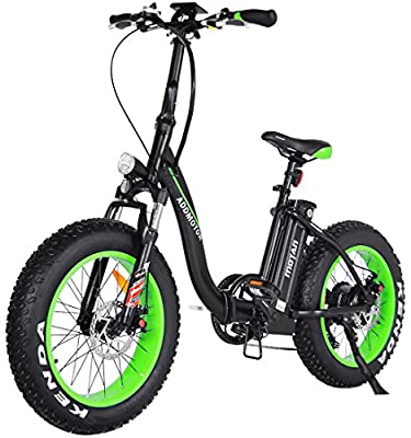 Folding Electric Bicycles 48V 500W Motor Low Step Through Ebikes For Adults 20 Inch Fat Tire Mini Foldable Electric Bikes 10.4 Ah Lithium Battery Front Suspension Fork Snow Beach M-140 2018 (Green)
