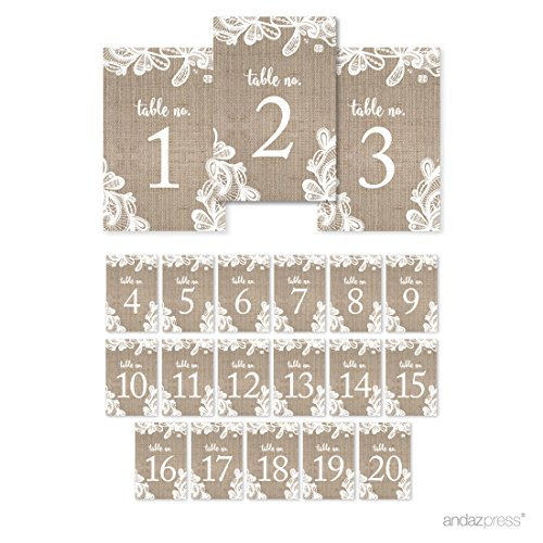 Andaz Press Burlap Lace Wedding Collection, Table Numbers 1 – 20 on Perforated Paper, Single-Sided, 4 x 6-inch, 1 Set