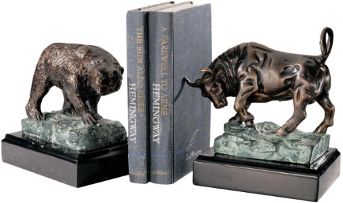 (Classic Authentic Cast Iron Bull and Bear of Wall Street Sculptures Bookends)