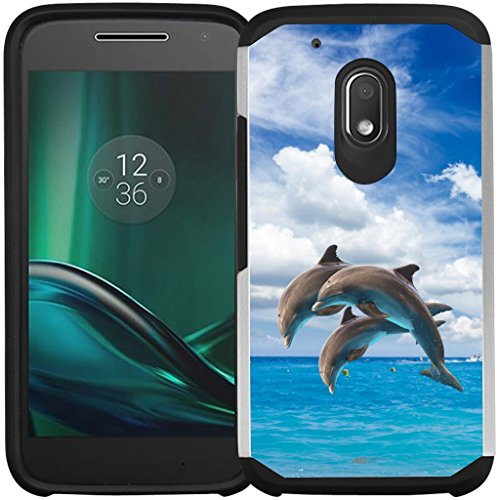 Moto G4 Play Case, Moto G Play Case - Armatus Gear (TM) Slim Hybrid Armor Case Protective Phone Cover for Motorola Moto G4 Play XT1607 / XT1609 (DOES NOT FIT MOTO 4G PLUS) - Jumping Dolphins (G Mobile Boost Moto Cases)