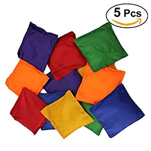 NUOLUX Juggling Bean Bags Toy Game Beanbags for Kids Children Assorted Colors - 5 Pieces