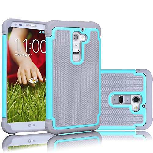 LG G2 Case, Tekcoo(TM) [Tmajor Series] [Turquoise/Grey] Shock Absorbing Hybrid Rubber Plastic Impact Defender Rugged Slim Hard Case Cover Shell Skin For LG G2 AT&T T-mobile Sprint Verizon Unlocked
