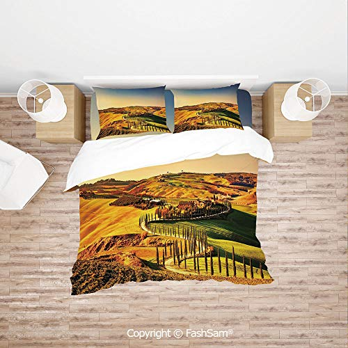FashSam Duvet Cover 4 Pcs Comforter Cover Set Tuscany Crete Senesi Rural Landscape Cypress Trees Country Farmland Europe Decorative for Boys Grils Kids(Double)