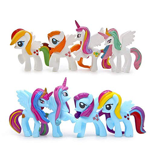 (LW 8 pcs Little Pony Toys, Mini Figure Collection Playset, Cake)