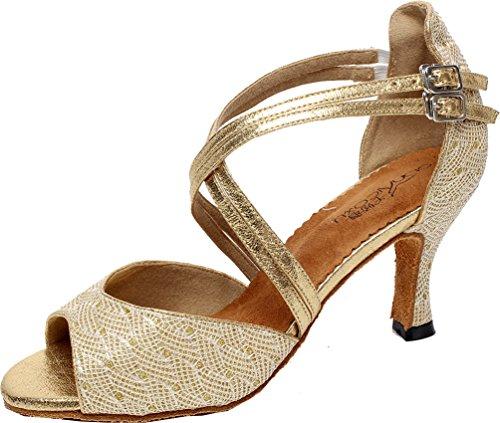 Abby Q-6210 Femmes Tango Latin Cha-cha Salle De Bal Chaton Talon Peep-toe Pu Danse-chaussures Or