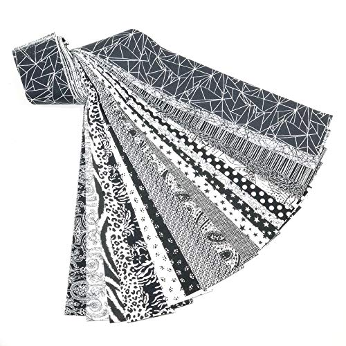 - Black and White 20 Jelly Roll Fabric Strips 2.5 X 43 Inch No Duplicates