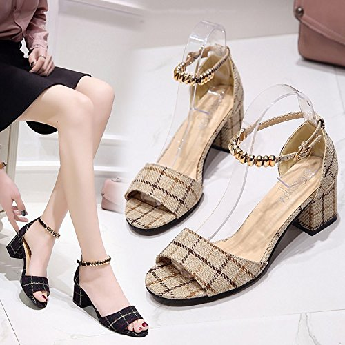 tacón Sandalias sandalias para pescado mujer alto UE bastas casuales mujer para de abalorios RUGAI boca sandalias black de sandalias verano de Zqt5w