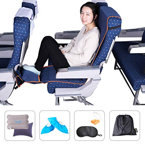 Travel Bread Airplane Footrest Hammock, Portable Travel Foot Rest with Inflatable Pillows, 3-Level Adjustable Height Foot Rest Hammock Flight Carry-On Footrest Provides Relaxation and Comfort (Blue)