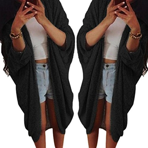 Lisingtool Womens Knit Sleeve Sweater Coat Cardigan Jacket (XXL, Black)