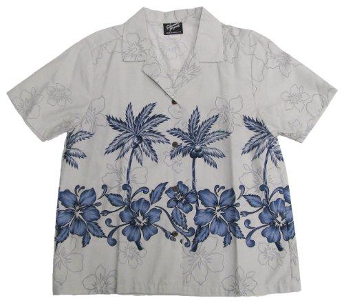 RJC Womens Hibiscus Bottom Band Camp Shirt in Pale Blue - XXL by RJC Women