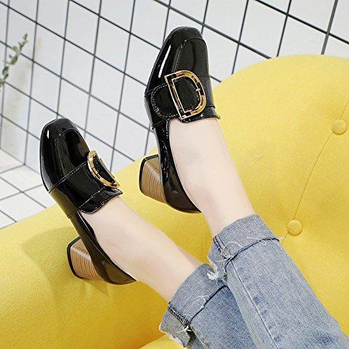 tacón para zapatos Negro de zapatos retro como mujer cuadrada Xue de fiesta trabajo los zapatos Qiqi con zapatos de Cabeza la gruesos en solo alto viento el R8qFvH