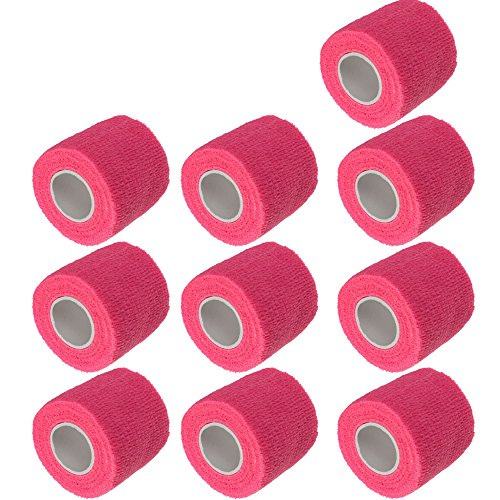 E Support 2 Inches X 5 Yards Self Adherent Cohesive Wrap Bandages Strong Elastic First Aid Tape for Wrist Ankle Pink Pack of 10 ()